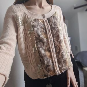 Anthropology free people peach gold sequin sweater